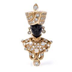 Giulio Nardi Antique Blackamoor Diamond Black Coral 18k-Gold Lapel  Brooch Pin