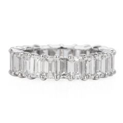 5.74 carats Baguette-Cut White Gold Eternity Band Ring