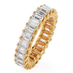 3.82 carat Baguette Cut Diamond Yellow 14K Gold Eternity Band Ring