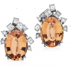 Vintage GIA 10.60cts  Imperial Topaz Diamond 18K Gold Earrings