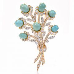 Van Cleef and Arpel Diamond Platinum Gold Flower VCA Pin Brooch
