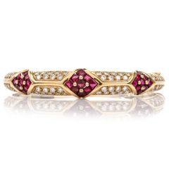 Cartier 1980'S Ruby Pave Diamond 18K Yellow Gold Bangle Bracelet