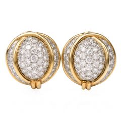 Verdura Diamond Platinum Gold Domed Clip-Back Earrings