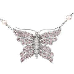 Tiffany and Co. Diamond and Akoya Pearl 17.5in Butterfly Necklace