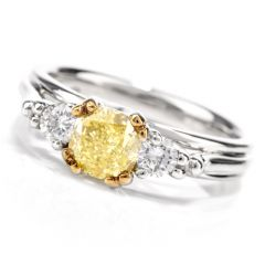 Estate Fancy Yellow GIA Cushion 3 Stone Diamond Platinum Engagement RIng