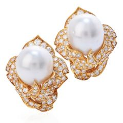 Retro Diamond South Sea Pearl 18K Gold Cluster Floral Clip On Earrings