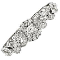 Vintage 18.10cts Diamond Platinum Floral Swirl Bracelet