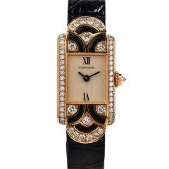 Cartier France Diamond Black Enamel 18K Gold Unique Wrist Watch