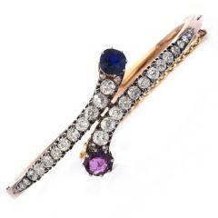 Antique GIA NO HEAT Sapphire Diamond Ruby 18K Gold Bypass Bangle Bracelet