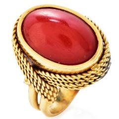 Red Coral 18K Gold Vintage Oval Cocktail Ring
