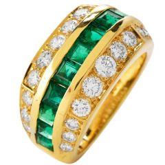 Tiffany & Co Diamond Emerald 18K Gold Channel Set Band Ring