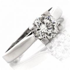 Estate 1.23Ct Round Brilliant-cut Diamond Platinum Engagement Ring