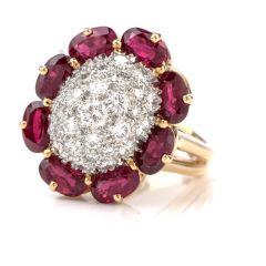Oscar Heyman Diamond Ruby Platinum/18K Cocktail Ring