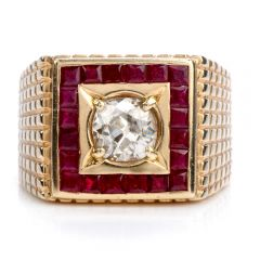 Vintage Old Cut Diamond Ruby 14K Gold Retro Textured Men's Ring