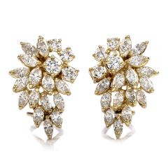 Estate Marquise Diamond 14K Gold Cluster Floral Clip On Earrings