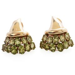 Vintage Retro Peridot 18K Yellow Gold Cluster Bouquet Clip On Earrings