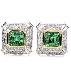 Estate Emerald Diamond 18K Gold Retro Square Clip Earrings