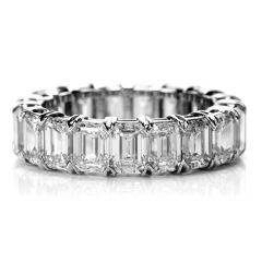 Estate GIA Certified 8.02 Carats Emerald Cut Diamond Platinum Eternity Band Ring