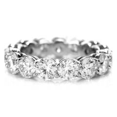 Estate 6.12 Carat GIA Diamond Eternity Platinum Wedding Band RIng