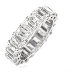 Emerald Cut Diamond Eternity Platinum Band Ring