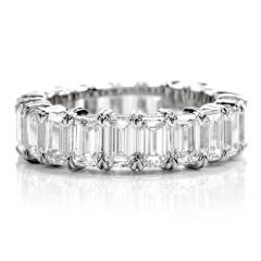 GIA Certified 6.57 Carats Emerald Cut Diamond Platinum Eternity Band Ring