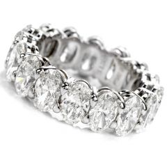 GIA 8.04cts Oval Diamond Platinum Eternity Band Ring Size 7