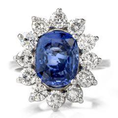 GIA Diamond & Natural No Heat Sapphire 14K Gold Cushion Halo Ring