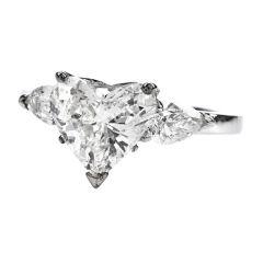 2.01 Heart Diamond 18K Gold Three Stone Engagement Ring
