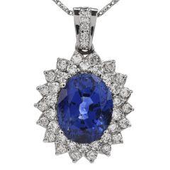 GIA 27.59cts Ceylon Sapphire Diamond Halo Platinum Pendant Enhancer