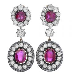 Antique Edwardian Natural Burma Ruby Diamond Gold Silver Flower Earrings