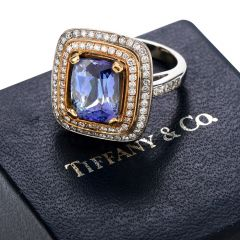 Tiffany & Co. GIA Tanzanite Diamond 18K Gold Vintage Cushion Engagement Cocktail Ring