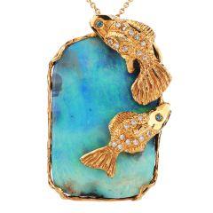 Estate Boulder Opal Diamond 18K Gold Large Fish Pendant