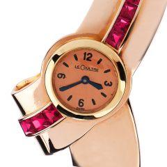Jaeger LeCoultre Vintage Ruby 18K Gold Bypass Cuff Bracelet Winding Watch