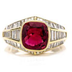 Estate Ruby Diamond 18K Gold 3.49 Carat Cushion Baguette Ring