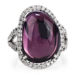 Estate 12.13 Amethyst Diamond 18K Gold Halo Cocktail Ring