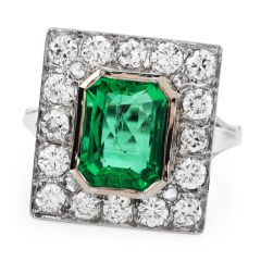 GIA No Oil 3.94 carats Colombian Emerald Diamond Ring