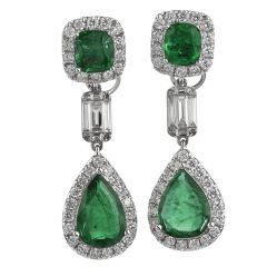 Estate Emerald Diamond 18K Gold Elegant Dangle Drop Earrings