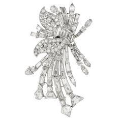 Vintage 14.50cts Diamond Platinum Elegant Botanical Pin Brooch