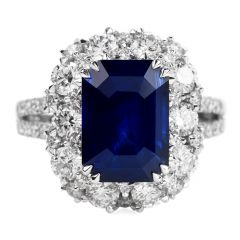 Certified 6.80ct Blue Sapphire Diamond 18K Gold Halo Cocktail Engagement Ring