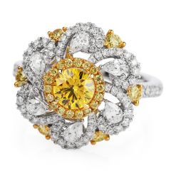 GIA Fancy Vivid Yellow Diamond 18K Gold Flower Cocktail Engagement Ring