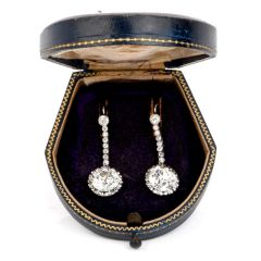 Antique 13.59 Carat European Cut Diamond Platinum Dangling Earrings
