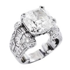 GIA 11.18cts Diamond Platinum Cushion Cut JB Star Engagement Ring