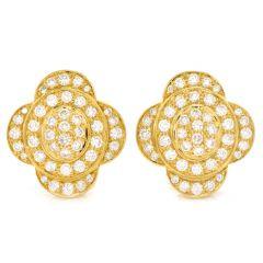 Diamond 18K Gold Elegant Floral Clip On Earrings