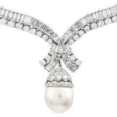 27.30cts Diamond South Sea Pearl Platinum Dangle Choker Necklace