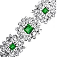 Vintage Diamond Colombian Emerald Platinum Flower Link Bracelet