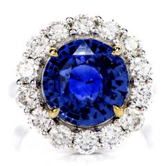 Ceylon Natural No Heat Sapphire Diamond 7.14 Carat 18K Gold Ring