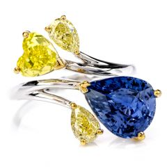 Burma Sapphire Natural No Heat & GIA Yellow Diamond 18K Gold Ring