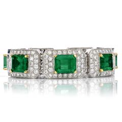 Estate 44.20 Carat Colombian Emerald & Diamond 18K Gold Bracelet