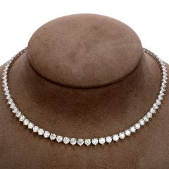 Estate Diamond 18K Gold Riviera 27.50 Carat Tennis Necklace