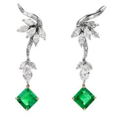 Vintage Diamond Colombian Emerald Platinum Gold Drop Earrings